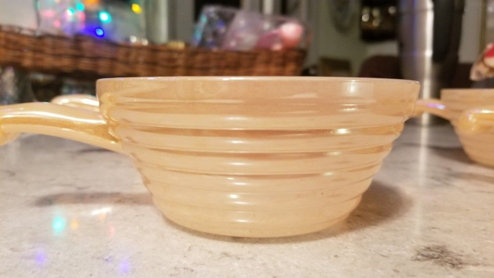 Fire king ovenware peach luster bowls