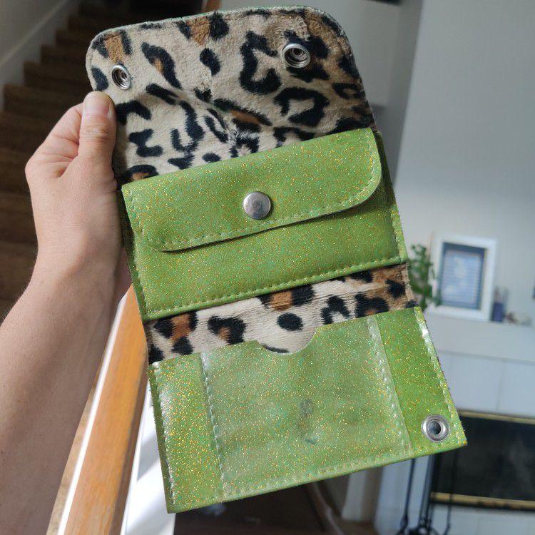 Trophy Queen Green Glitter Handbag & Matching Wallet