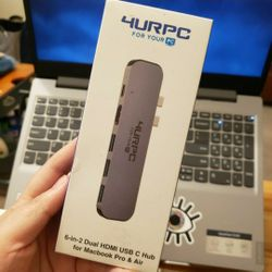 USB C Hub, Supports 4K Dual Monitor Compatible for MacBook Pro 2019/2018/2017/2016, MacBook Air 2018/2019   Thumbnail