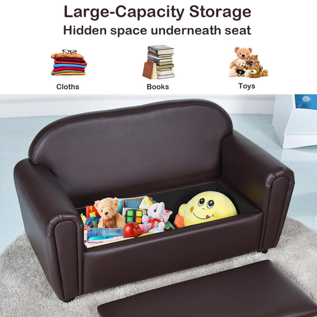 Gymax Kids Sofa Armrest Chair Lounge Couch Wood Construction Storage Box Living Room