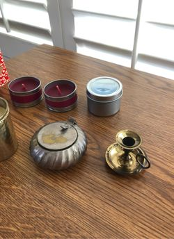 Brass and silver candle holders Thumbnail