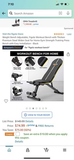 Weight Bench Adjustable, Figolo Workout Bench with Thicken Premium Steel Widen Seat for Home Gym Strength Training Press Bench with Easy Installation  Thumbnail