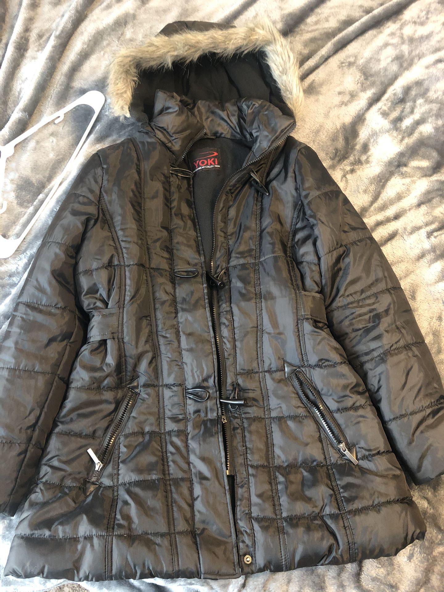 Yoki windbreaker jacket fuzzy hood, Large