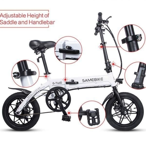 Samebike Electric Folding Bicycle Moped White Electric Bike E-bike 36V 8AH Lithium Battery for Adult YINYU14
