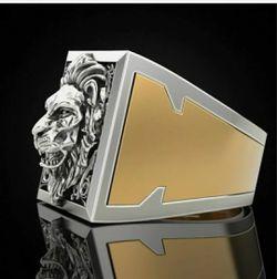 Men's Lion Two Tone 925 Silver Ring Thumbnail