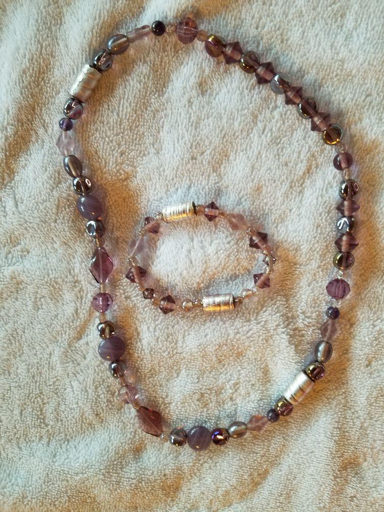Purple & Silver beaded necklace & bracelet