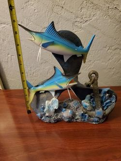 Fishes on propeller with glittery shells decor beach theme coastal nautical Thumbnail