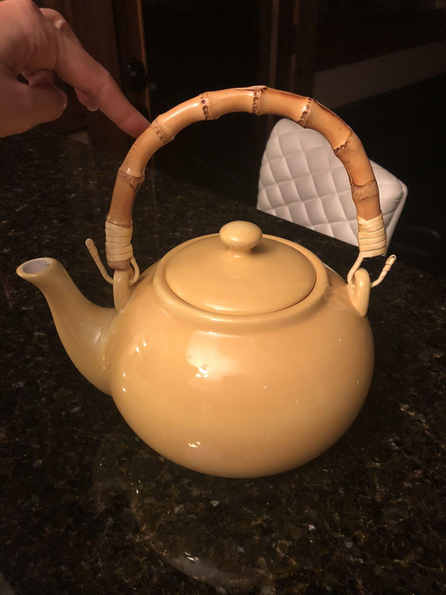 Pottery Barn Sausalito Amber Yellow Tea Pot with Bamboo Handle