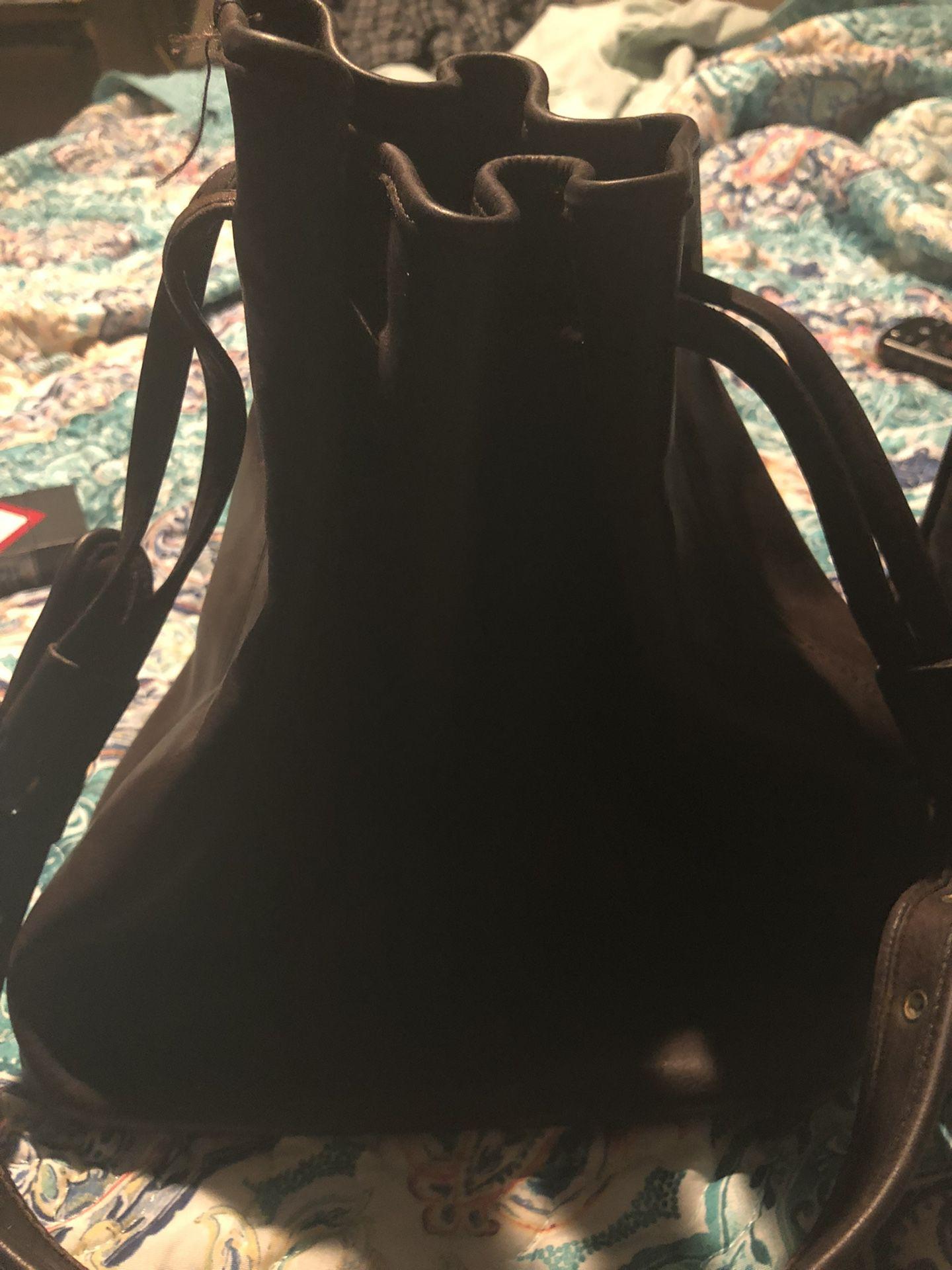 Vintage Brown Leather Coach Drawstring Purse
