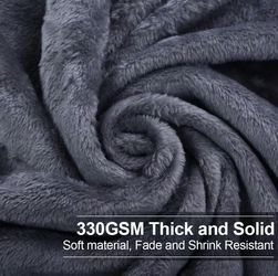 EASELAND Soft Queen Size Blanket All Season Warm Microplush Lightweight Thermal Fleece Blankets for Couch Bed Sofa,90x90 Inches,Dark Gray Thumbnail