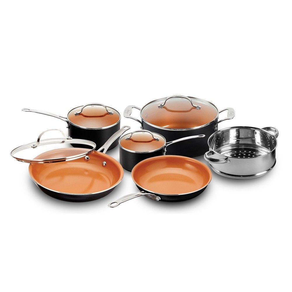 20 Piece All in One Kitchen Cookware + Bakeware Set with Nonstick Durable Ceramic Copper Coating