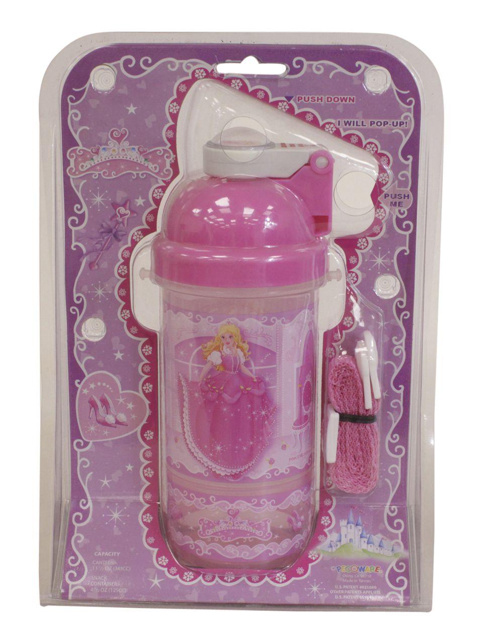 Princess Kids Pink Snack N Sip Pop-Up Straw Canteen