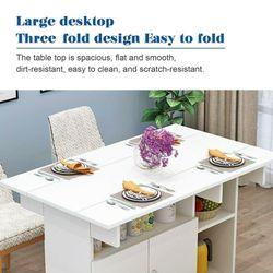 Mobile Drop Leaf Kitchen Dining Table Folding Desk With Wheels Storage Shelves Thumbnail