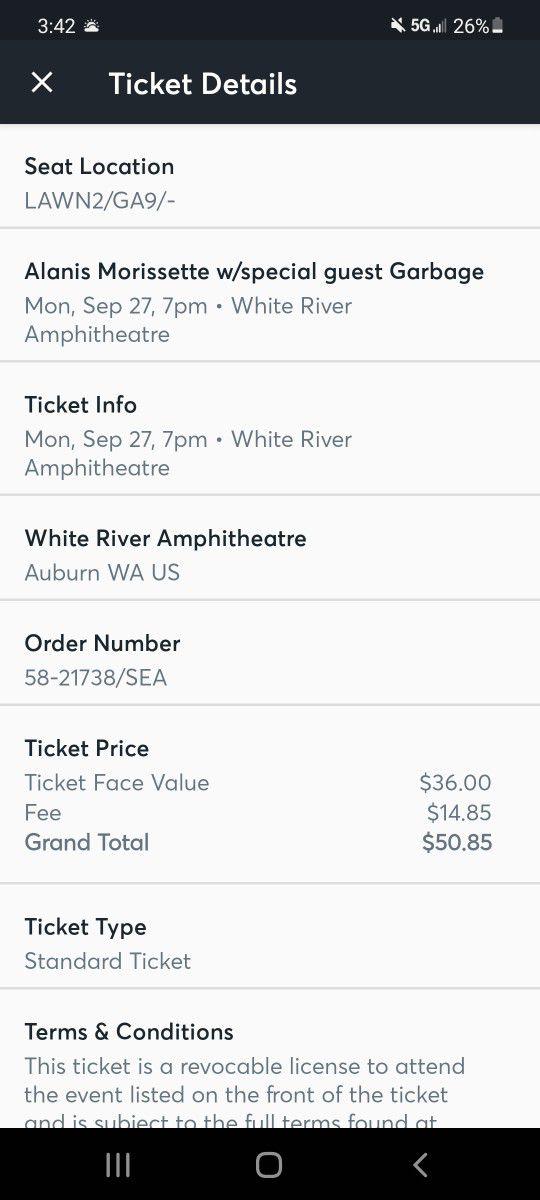 4 Tickets To Alanis Morissette Concert