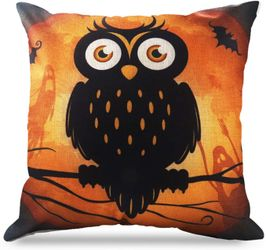 Brand New Halloween Throw Pillow Covers 18 x 18 Inch Owl/Bat/Witch/Castle Theme Sofa Home Decorative Cushion Pillow Case Bedroom Living Dining Seat Thumbnail