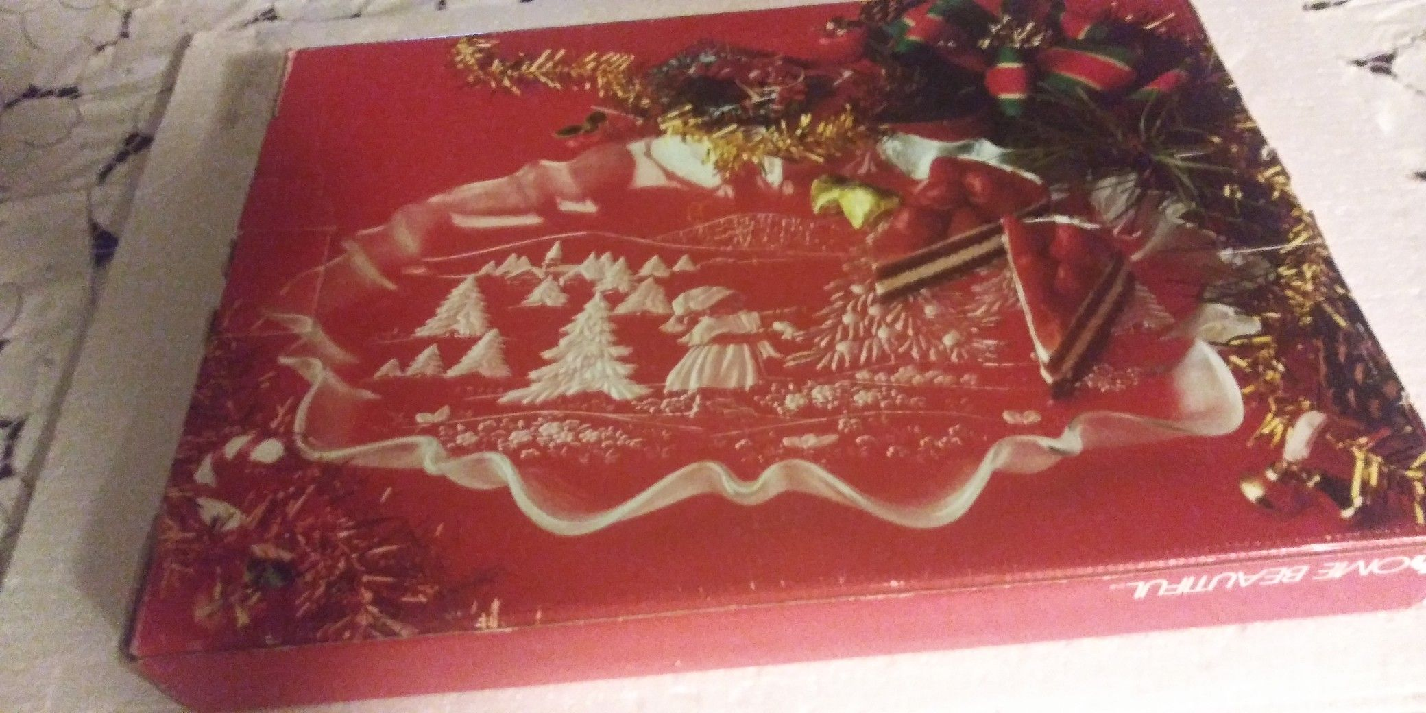 """Oval canape crystal platter """"Christmas Tree"""" 17 1/4"""" by Home beautiful Mikasa"""