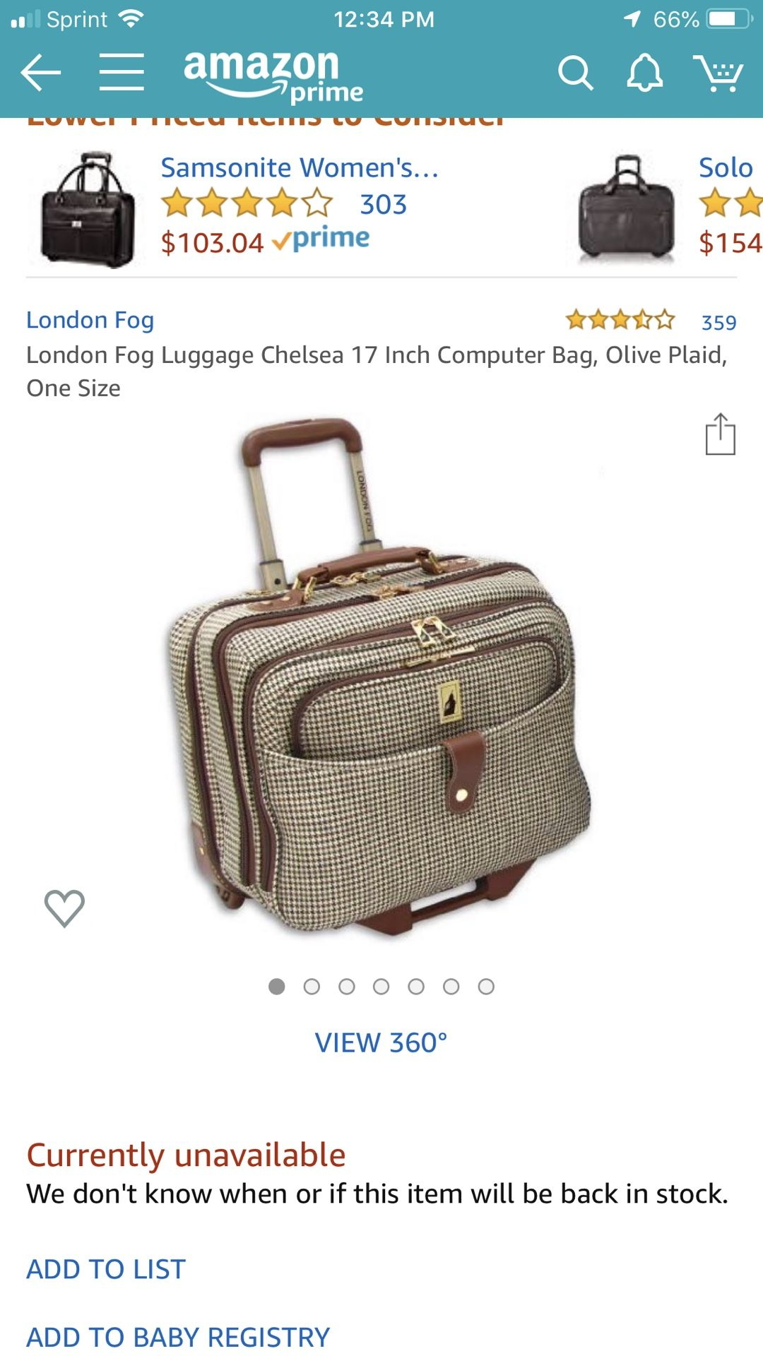 London Fog Rolling bag
