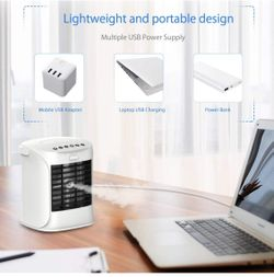 Portable Air Conditioner, Nanssigy Personal Oscillating Mini Air Cooler, Desk Fan Evaporative Cool Mist Humidifiers Air Circulator, Perfect for Bedroo Thumbnail