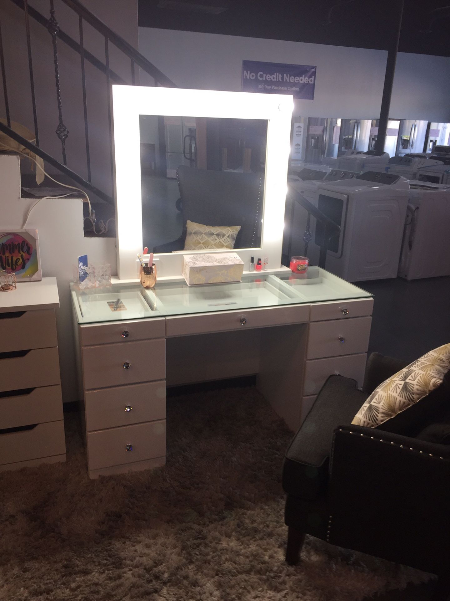 New Vanity Make Up White Dresser and Mirror Glass Top💄39$down🚚Same Day Delivery