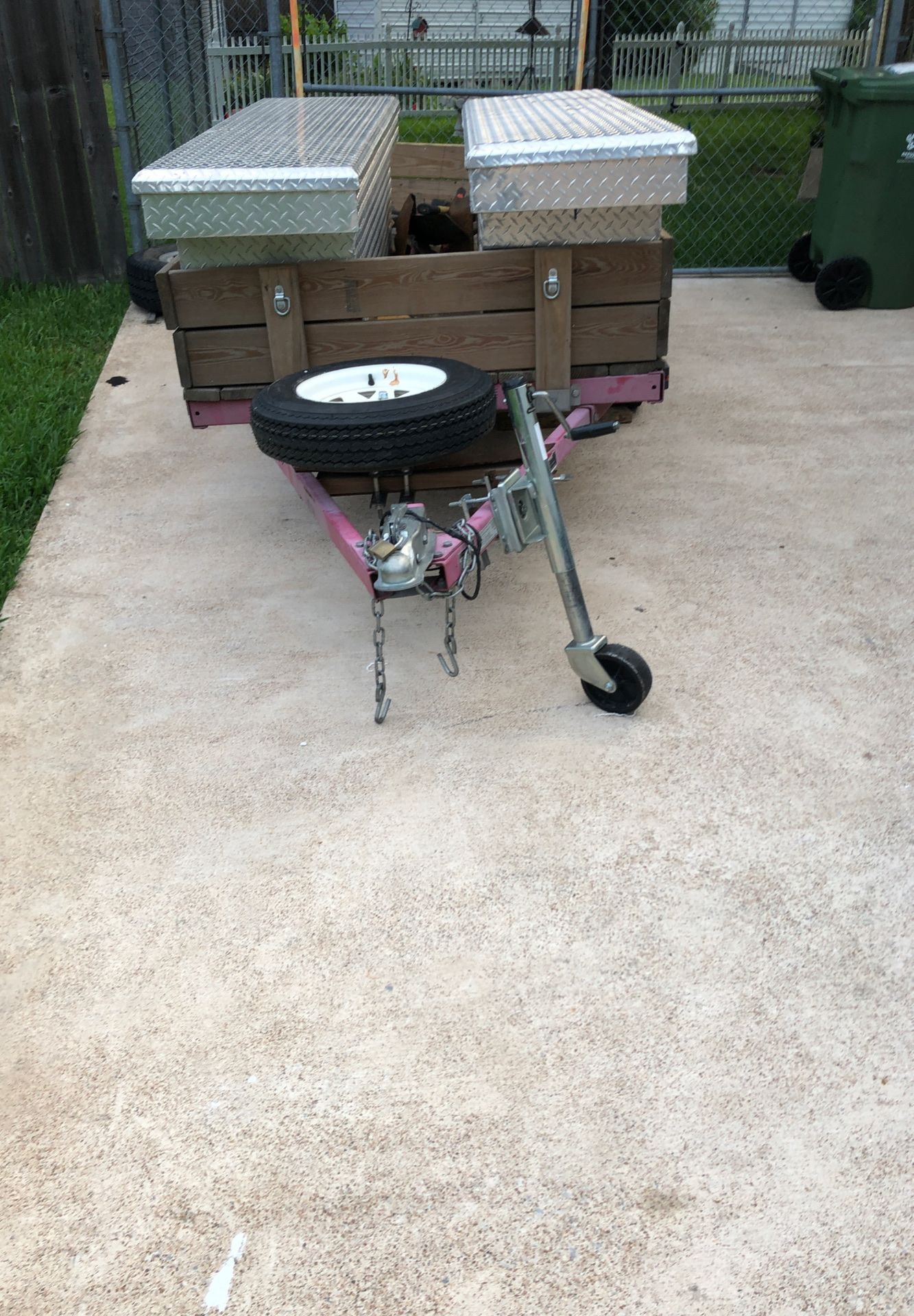 Utility trailer, tool box's come with and can be removed easy to have a open 4x8 trailer