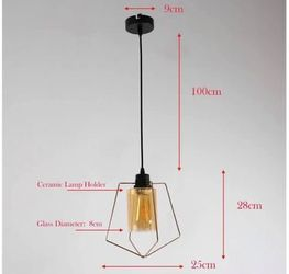 Brand New In Box Amber Glass Gold Pendant Light / Hanging Lamp Thumbnail