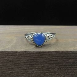 Size 6 Sterling Silver Blue Heart Filigree Band Ring Vintage Statement Engagement Wedding Promise Anniversary Bridal Cocktail Friendship Thumbnail