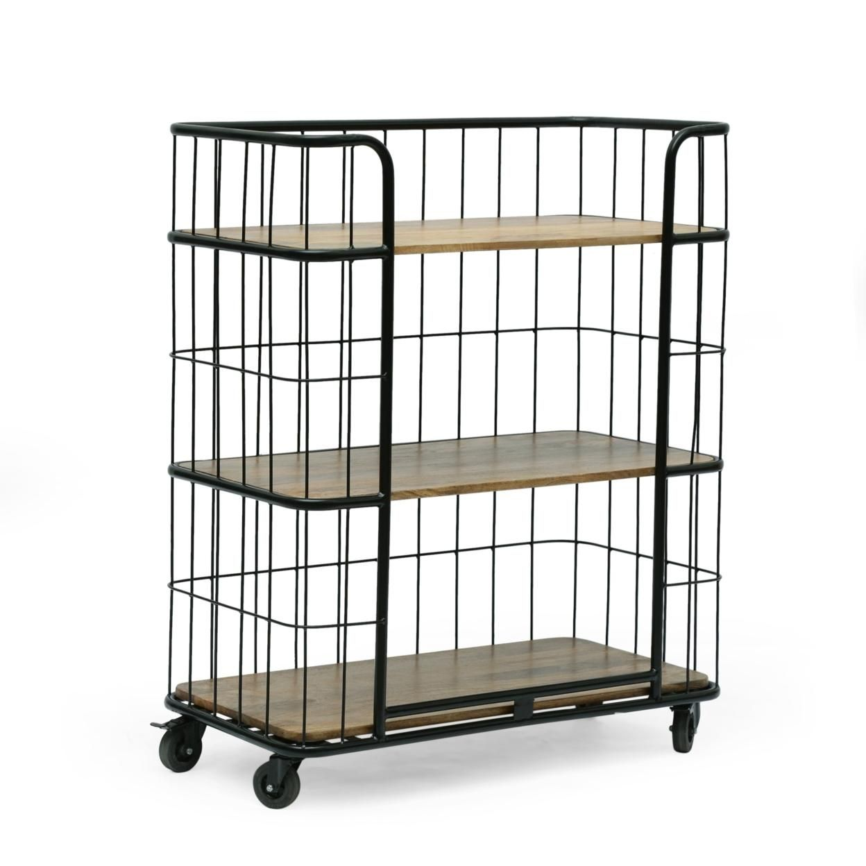 Baddow Modern Industrial Handcrafted Mango Wood Kitchen Cart with Wheels, Natural and Black