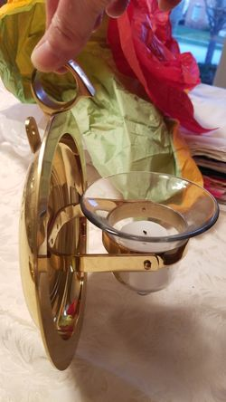 Brass candle holders, either free standing or can be hung on wall Thumbnail