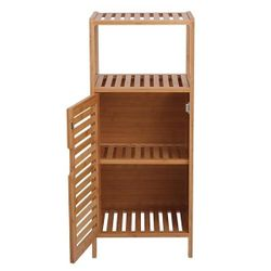 100% Bamboo Bathroom Floor Cabinet, Double Deck Shelf With Single Door And Cell For Stand-Alone Kitchen Cabinet, Living Thumbnail