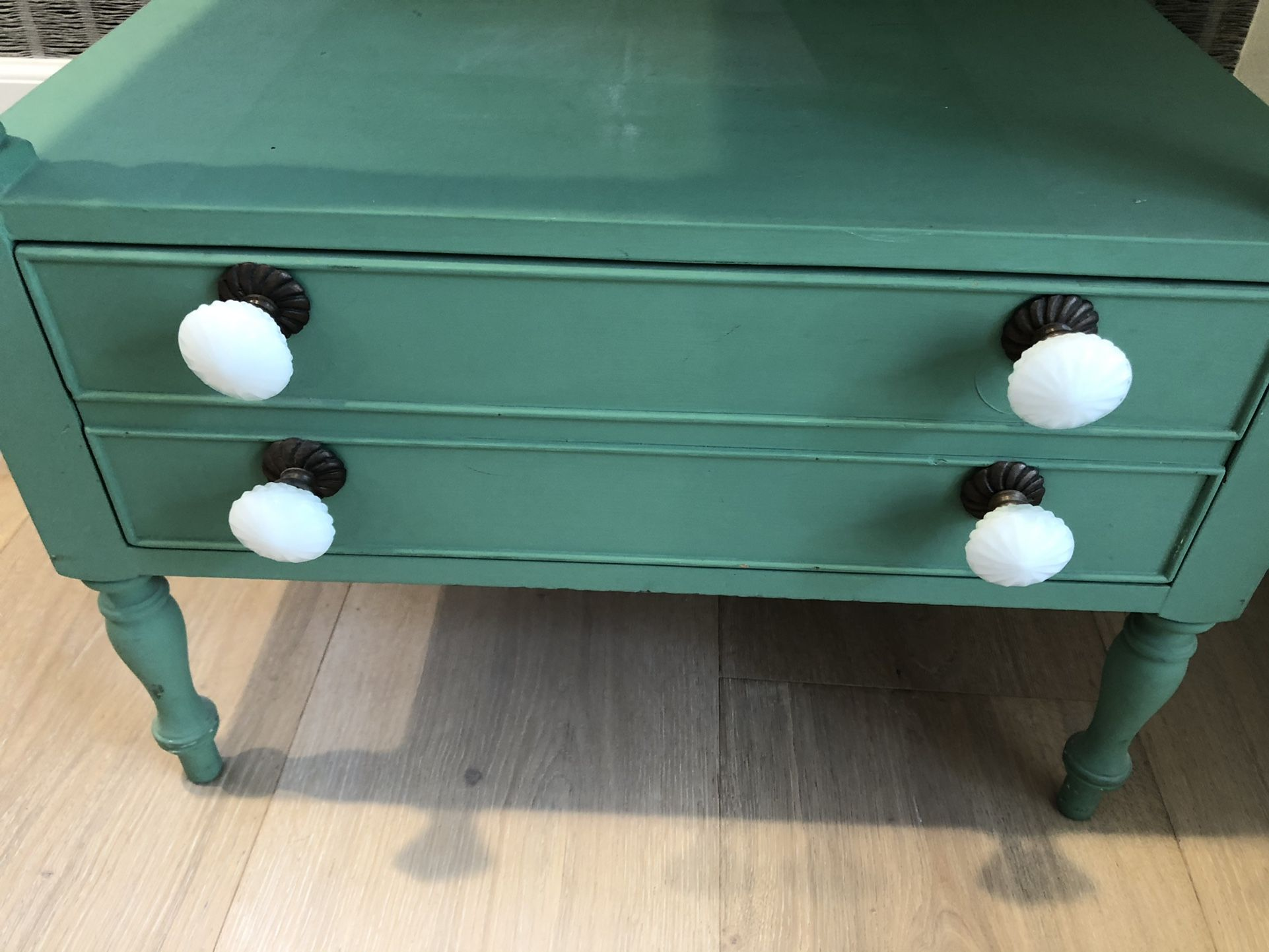 Antique Green End/Side Table With Milk glass Knobs