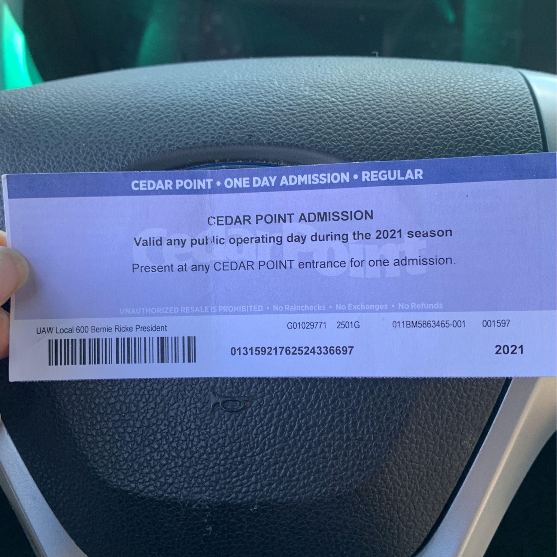 Cedar Point 2021 Admission Ticket