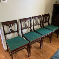4 Antique Wooden Dining Chairs Retro Vintage! Thumbnail
