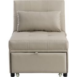 Sofa Bed with 1 Lumbar Pillow and Pull Out Sleeper, Beige, Saltoro Sherpi Thumbnail
