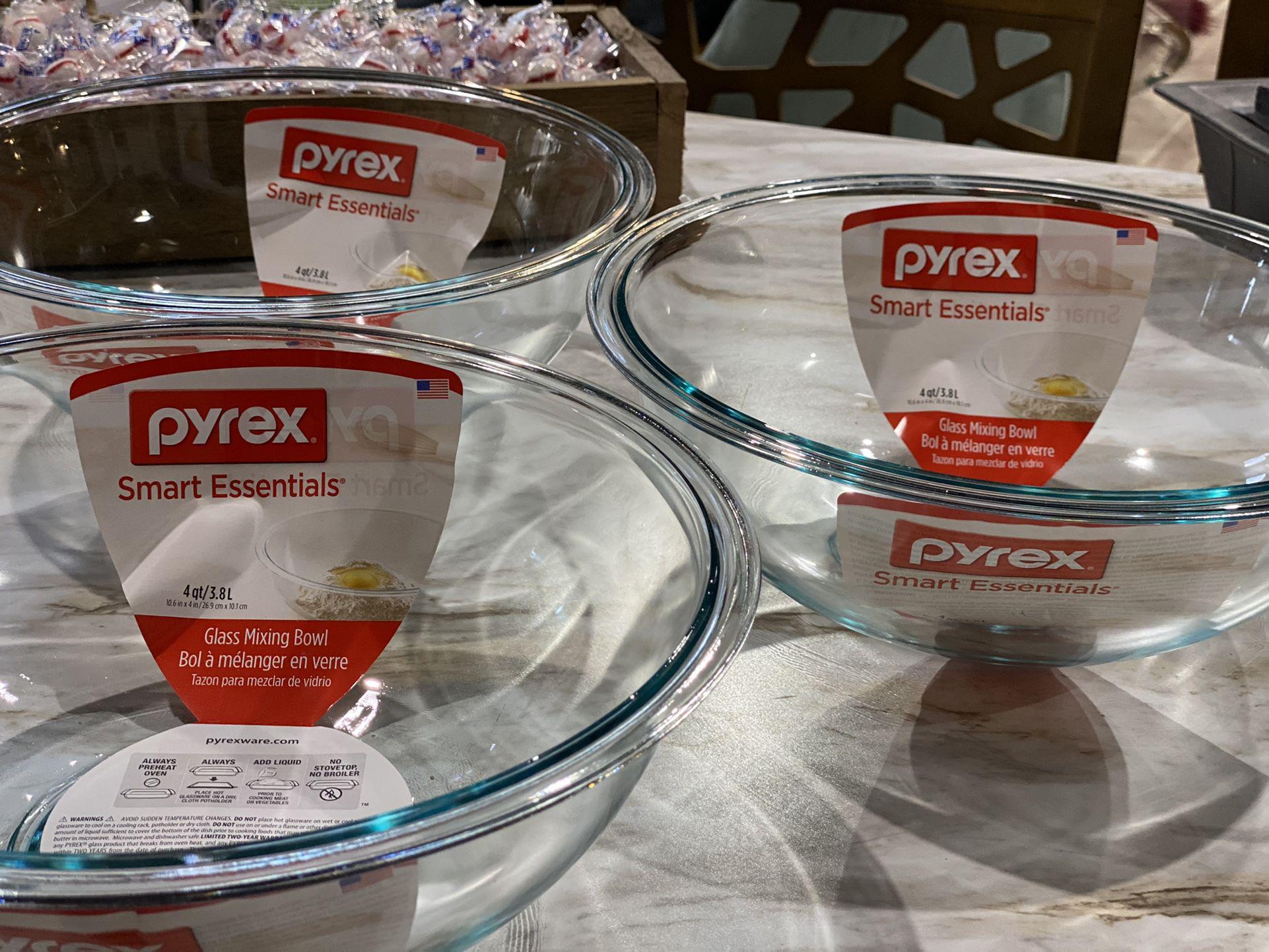 $14 each + sales tax- THREE Pyrex prepware mixing bowls. MSRP $36 each.