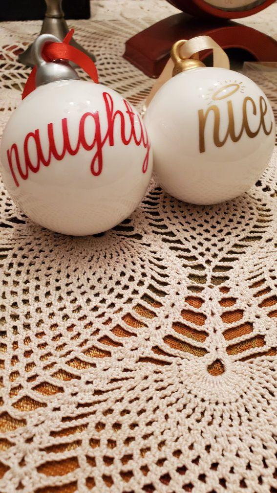 New...ceramic well made naughty and nice bulbs..great gift ..Christmas decor