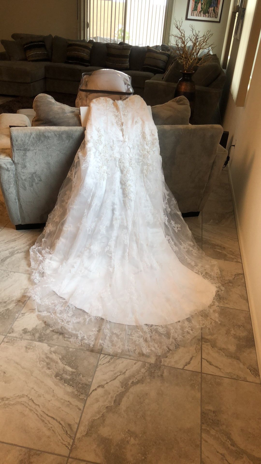 Wedding dress With Beading, Lace and a Train.