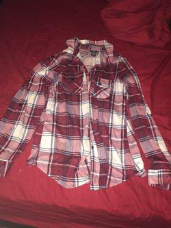 Ladies red and white plaid shirt. Size medium Thumbnail