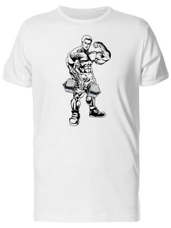 Smartprints Man With Dumbbell Showing Biceps Tee Men's -Image by Shutterstock White Size 4XL Thumbnail