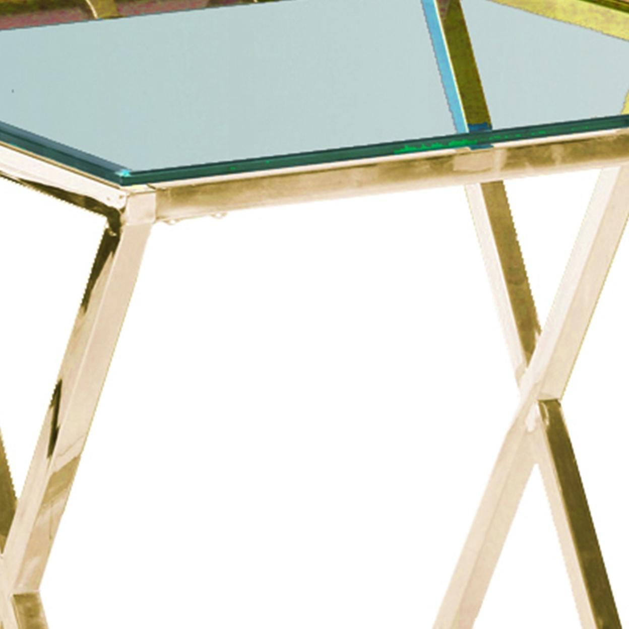 Saltoro Sherpi Diamond Shaped Metal Accent Table with Glass Top, Gold