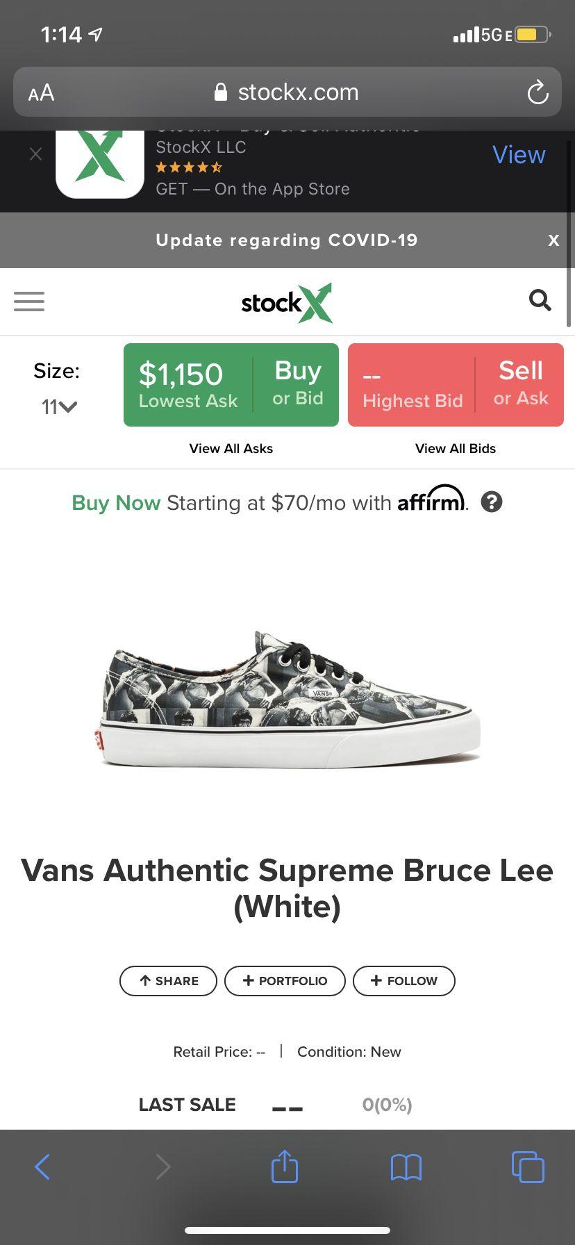 Supreme Bruce Lee Vans RARE