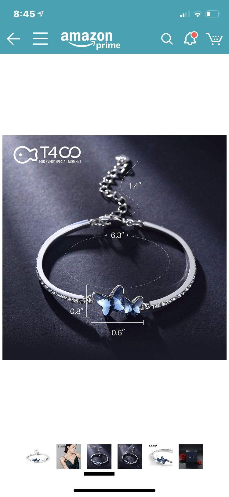 Blue purple butterfly bracelet, earrings & necklace