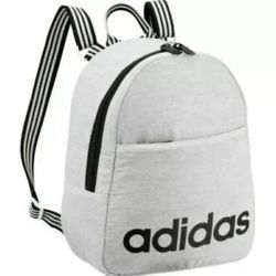 Adidas Core Mini Small Unisex Backpack Gray White Jersey Black Stripes Thumbnail