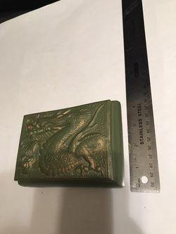 1980's Vintage Jamar Mallory Green & Gold Ceramic Dragon Trinket Box Thumbnail