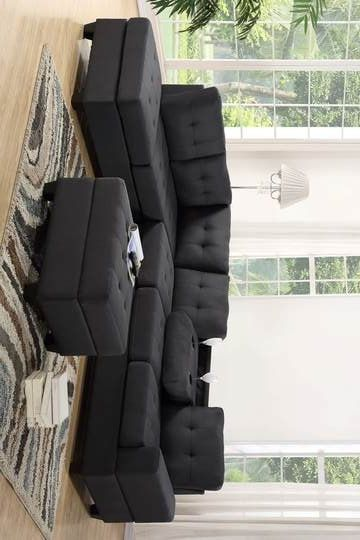 [HOT DEAL] Heights Charcoal Gray Reversible Sectional with Storage Ottoman