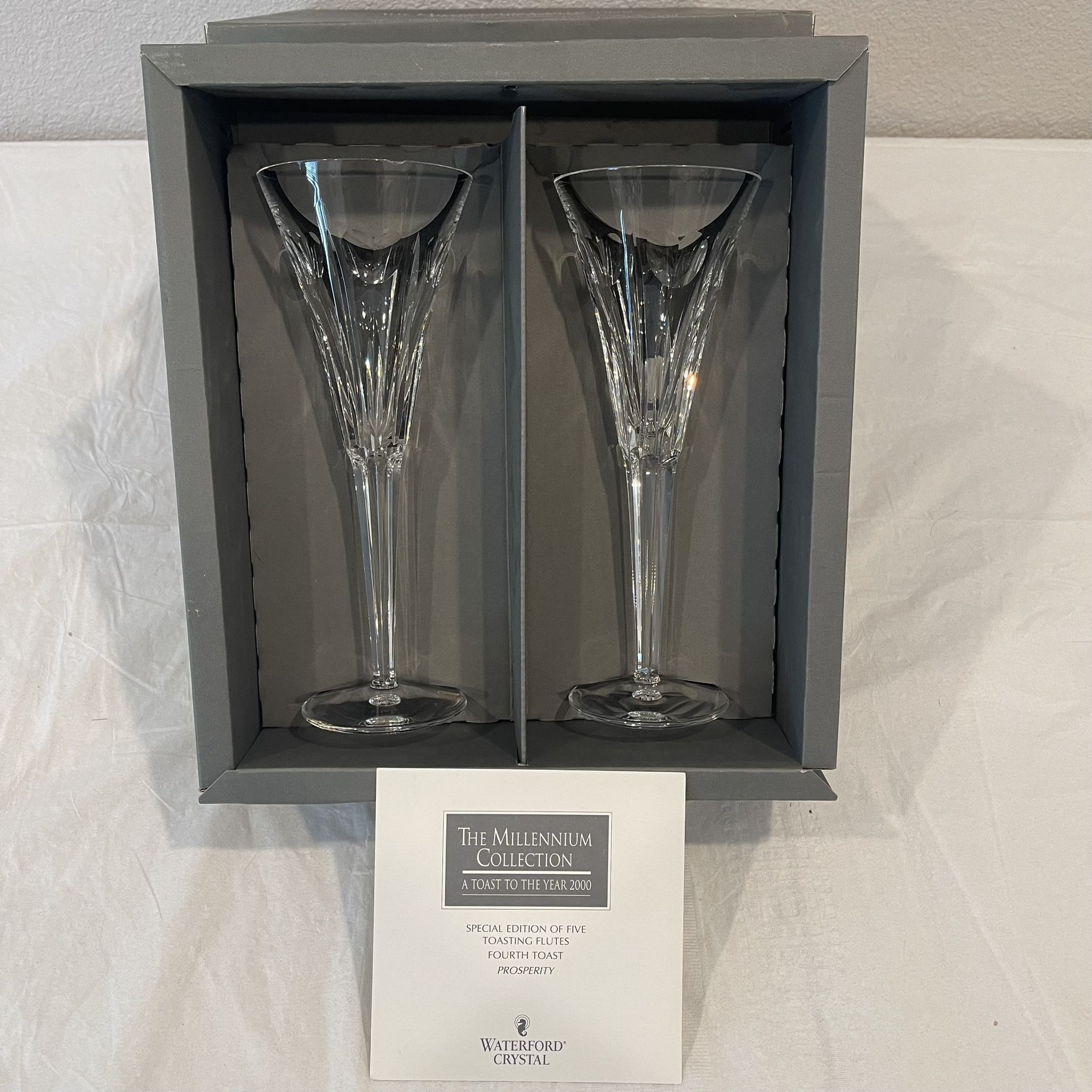 Waterford Millennium Collection Toast To The Year 2000 Champagne Flutes Complete Rare Set