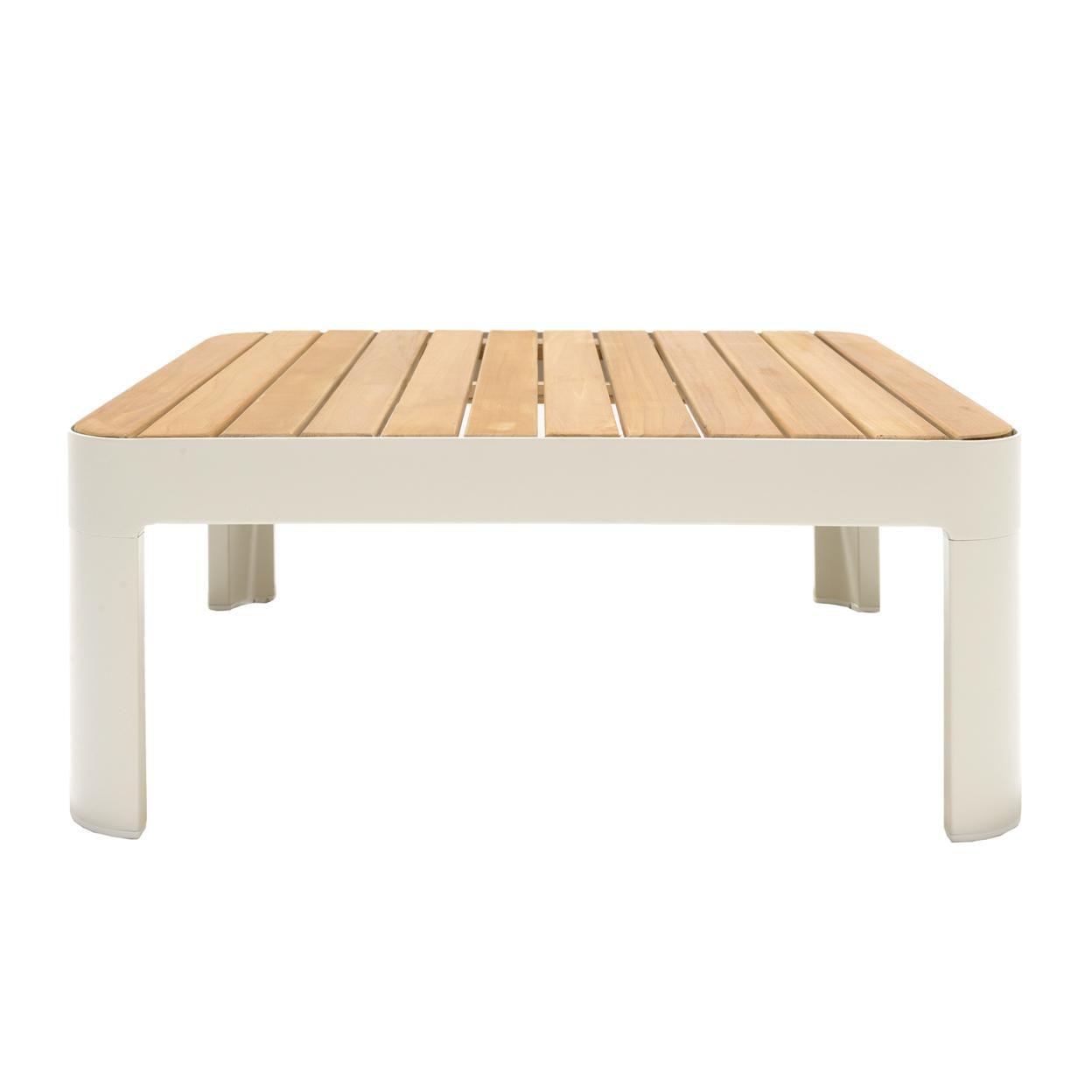 Saltoro Sherpi Outdoor Sofa with Slatted Snack tray, Set of 2, Light Gray