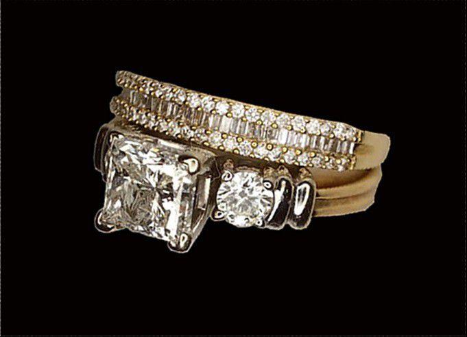 1.60 carat princess cut diamond engagement ring set gold new