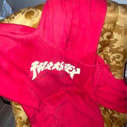 Thrasher Magazine Red Godzilla Font Hoodie Thumbnail