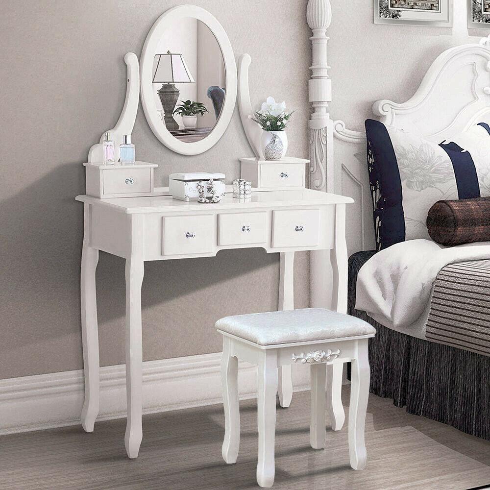 White 5 Drawer Wood Vanity Makeup Dressing Table Set w/Stool, Jewelry Drawer, Mirror Desk