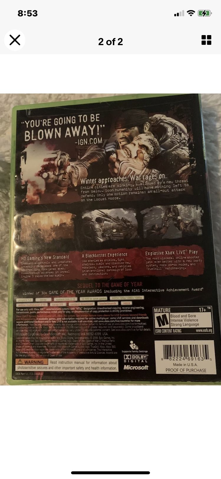 """Gears of War 2 (Xbox 360, 2008). Condition is """"Very Good"""". Shipped with USPS First Class."""